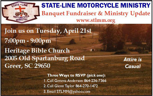 Annual Banquet, Tues. Apr 21st @ 7, Heritage Bible Church